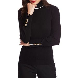 COURT AND ROWE Button Cuff Tipped Turtleneck